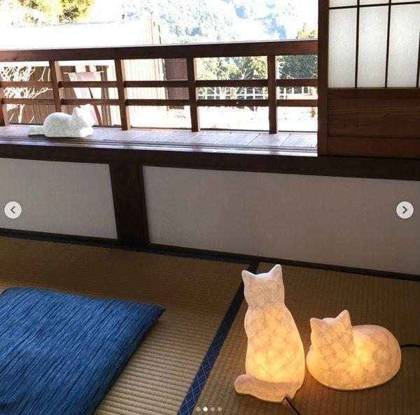 和紙猫のランプシェード