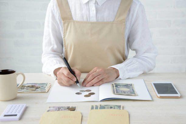 スマート フォンで家計簿を維持する日本人女性