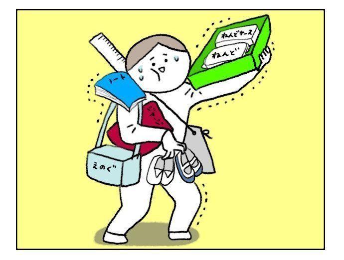 [ヒビユウの育児絵日記 #59] 入学前の学用品販売で役立ったモノとは!?