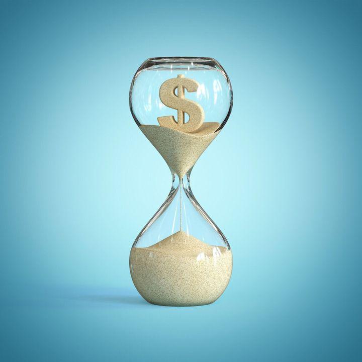 砂時計、砂時計、砂タイマー、ドル記号付き砂時計